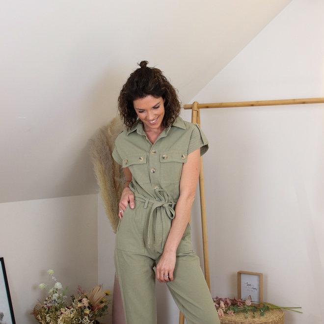 h1818 jumpsuit korte mouw met knoopjes  losse pijp kaki