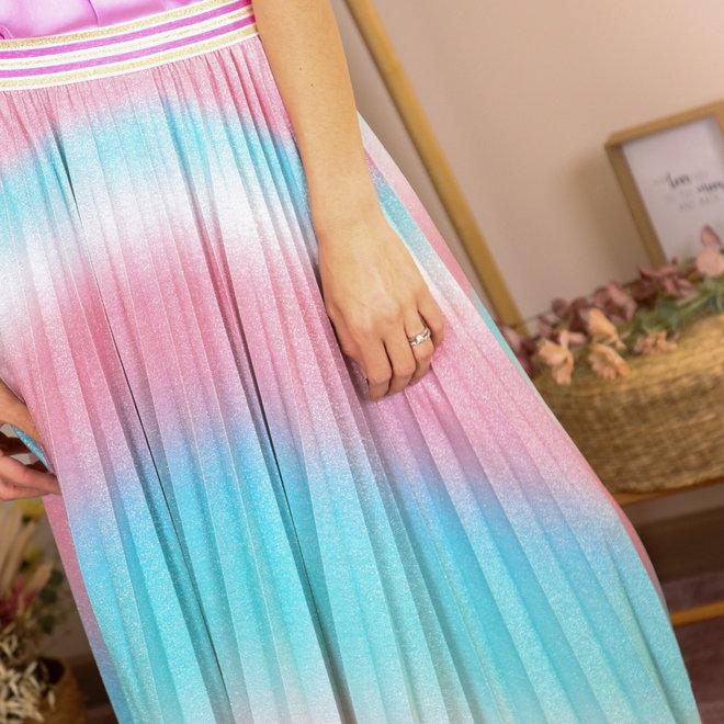midirok rainbow lurex mint/roze