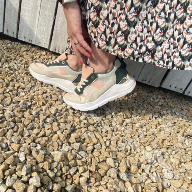 sneaker green beige b-671