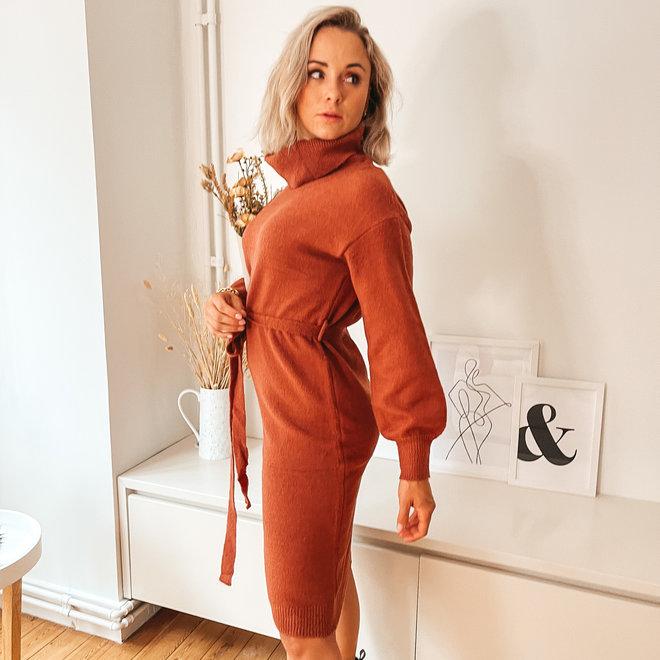 rolkraag kleedje gebreid met lint sc2538