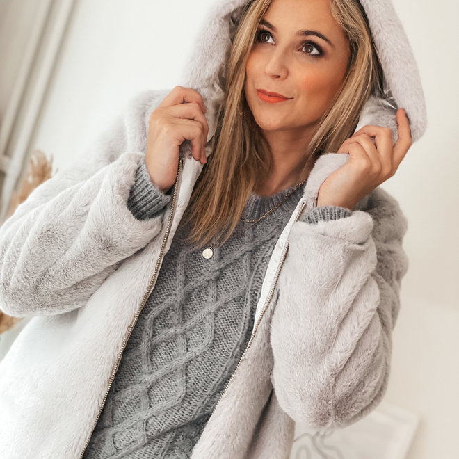 grijze fake fur vest 0033