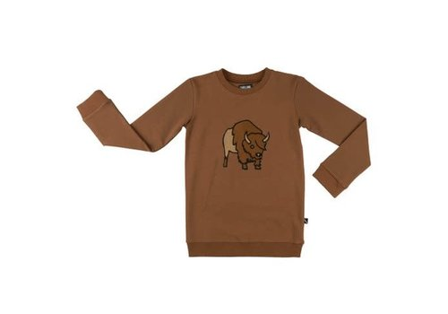 CarlijnQ CarlijnQ bison - sweater brown w. embroidery on front