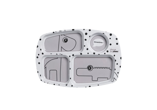 Done by Deer Done by Deer Compartment plate, Happy dots, grey