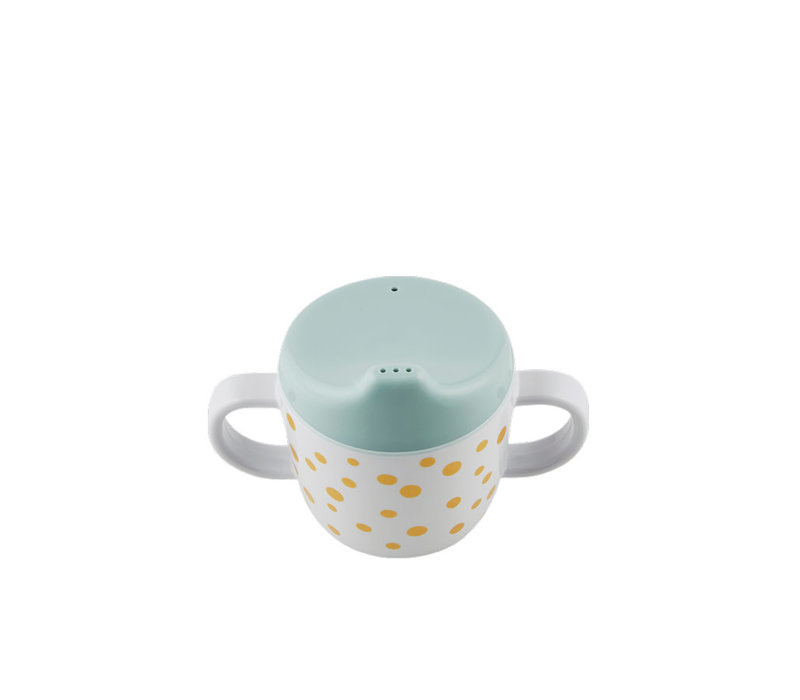 Done by Deer Spout cup, Happy dots, gold/blue
