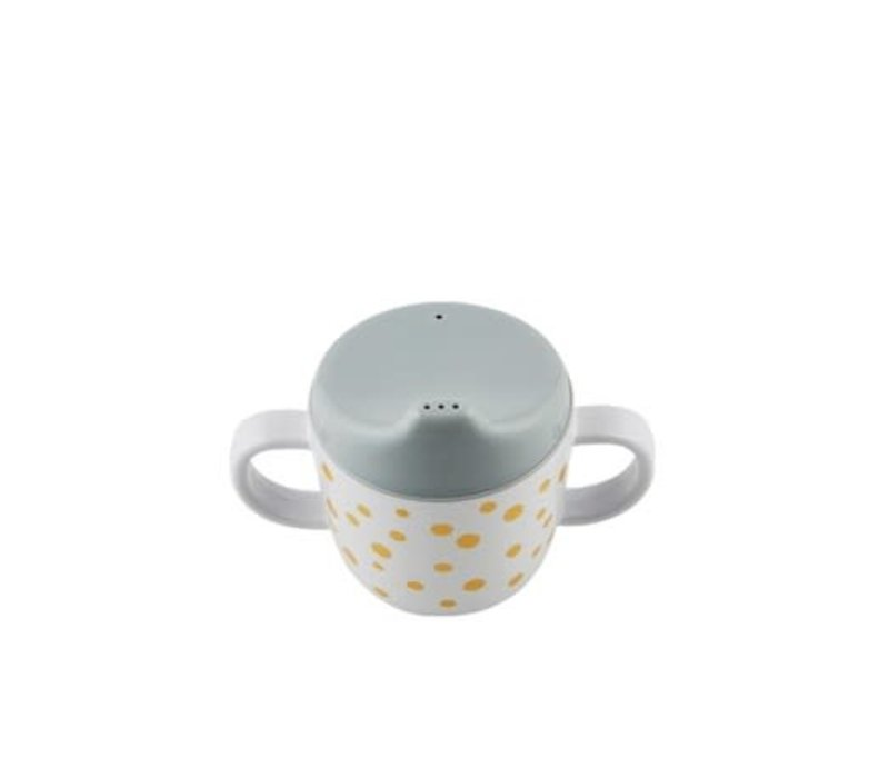 Done by Deer Spout cup, Happy dots, gold/grey
