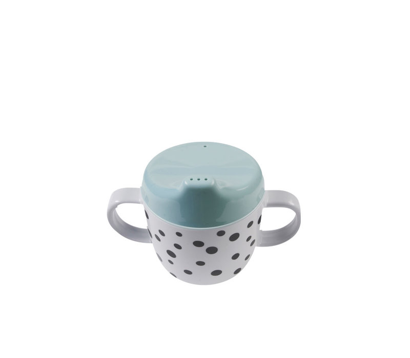 Done by Deer Copy of 2-handle spout cup, Happy dots, blue