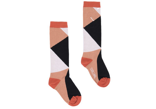 CarlijnQ CarlijnQ Knee socks - color blocks black / brown