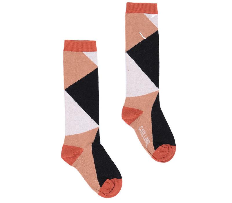 CarlijnQ Knee socks - color blocks black / brown