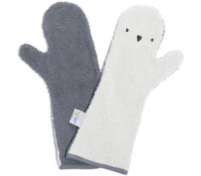 Baby shower glove pinguïn wit/antraciet
