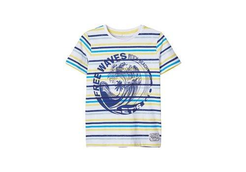 Name it Name It T-shirt gestreept blauw/geel