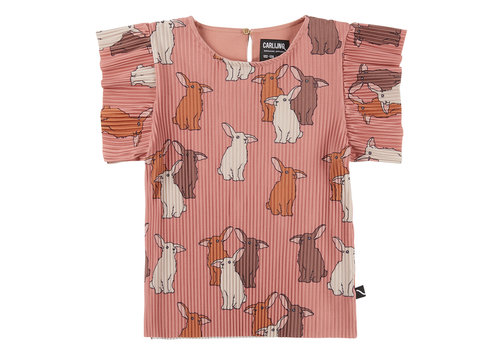 CarlijnQ CarlijnQ Rabbits - ruffled short sleeve top