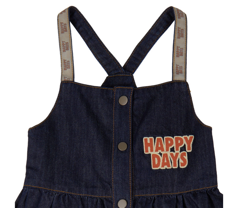 CarlijnQ Happy days - dress + embroidery (denim)