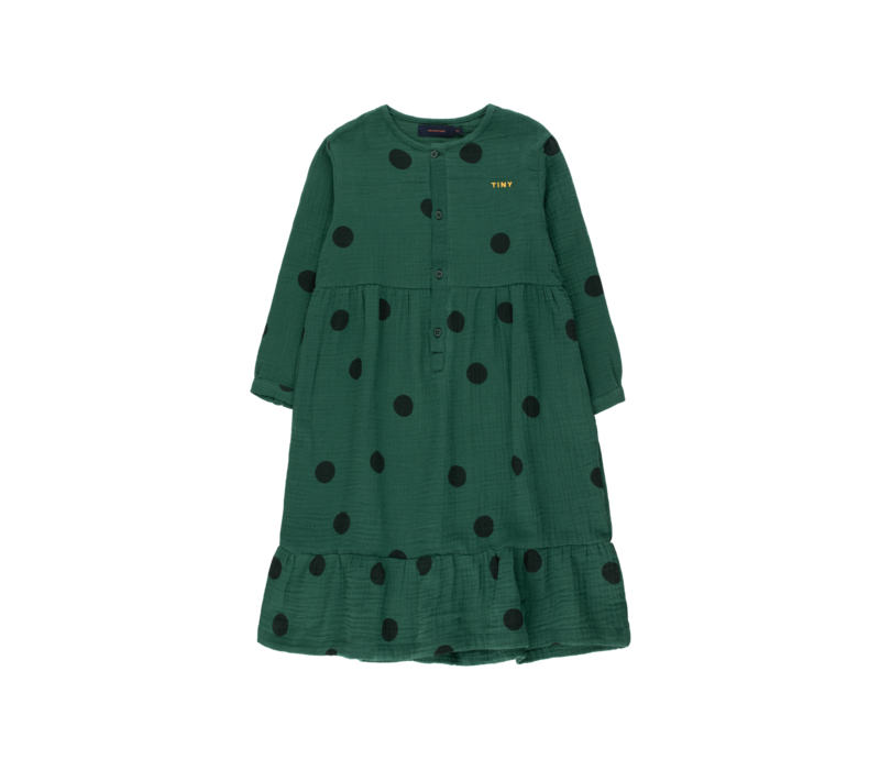"Tinycottons ""BIG DOTS"" DRESS dark green/black"
