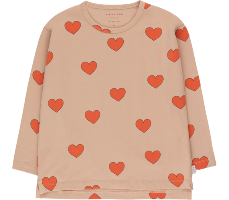 """Tinycottons """"HEARTS"""" TEE light nude/red"""