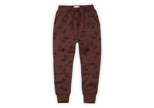 Sproet & Sprout Sproet & Sprout Sweatpants Pierrot AOP  Chocolate