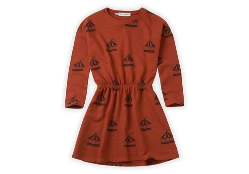 Sproet & Sprout Sproet & Sprout Dress Carousel AOP Copper Brown