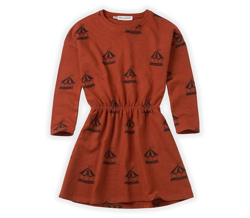 Sproet & Sprout Dress Carousel AOP Copper Brown