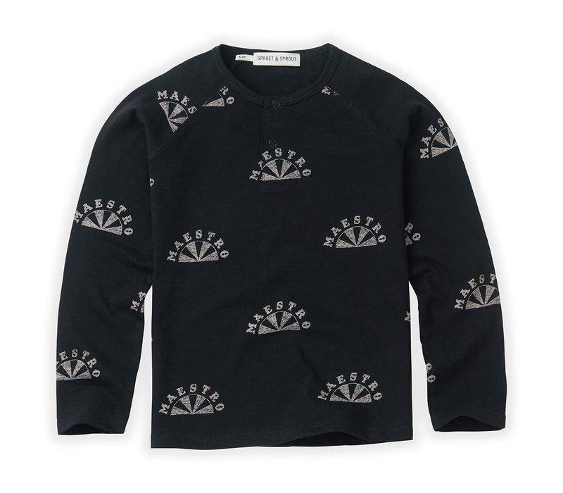 Sproet & Sprout T-shirt grandad Maestro AOP Black