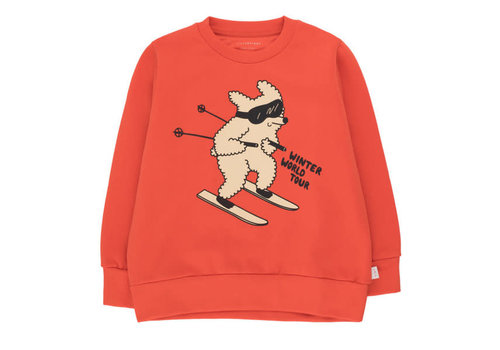 "Tinycottons Tinycottons ""SKIING DOG"" SWEATSHIRT red/cappuccino"