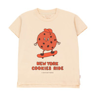 """Tinycottons """"COOKIE RIDE"""" TEE cream/brown"""
