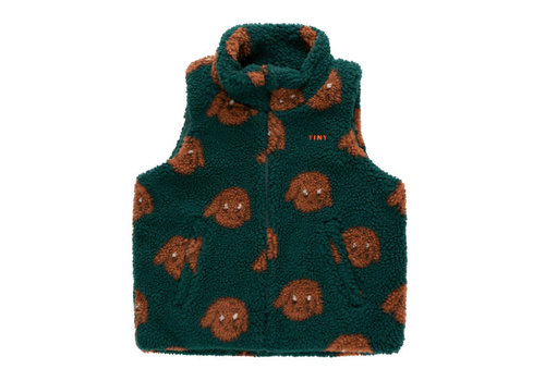 "Tinycottons Tinycottons ""TINY DOG"" SHERPA VEST dark green/sienna"