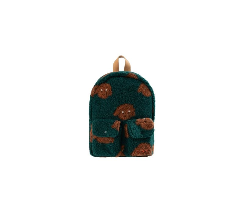 """Tinycottons """"TINY DOG"""" SMALL SHERPA BACKPACK dark green/sienna"""