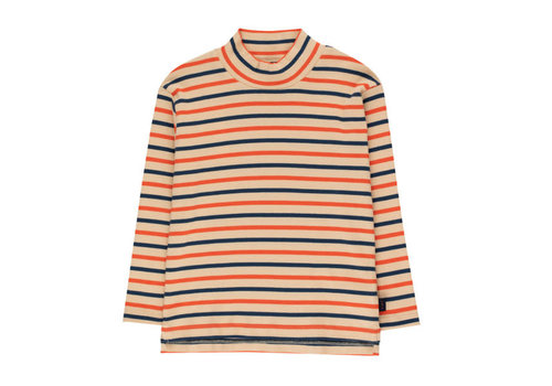 "Tinycottons Tinycottons ""STRIPES"" MOCKNECK TEE cappuccino/light navy/red"
