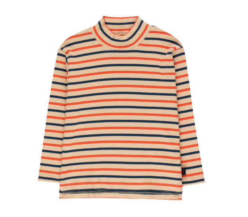 "Tinycottons ""STRIPES"" MOCKNECK TEE cappuccino/light navy/red"