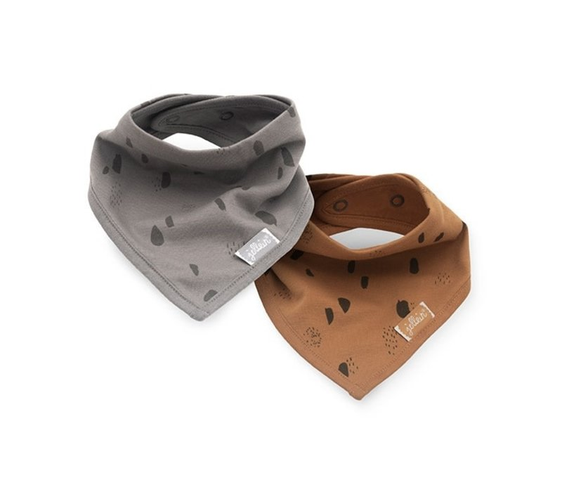 Jollein Slab bandana Spot storm grey/caramel (2pack)