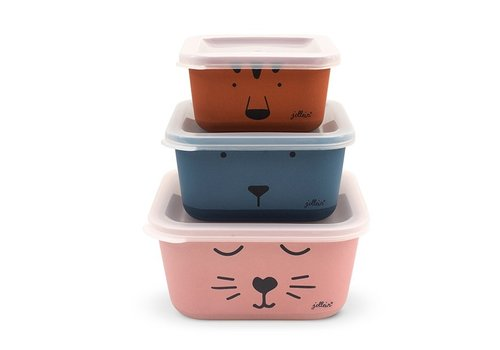 Jollein Jollein Snackbox bamboe Animal club (3psc)