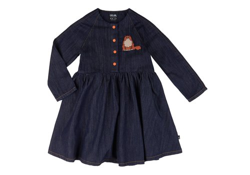 CarlijnQ CarlijnQ LouLou - 3 button oversized dress + embroidery (denim)