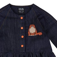 CarlijnQ LouLou - 3 button oversized dress + embroidery (denim)