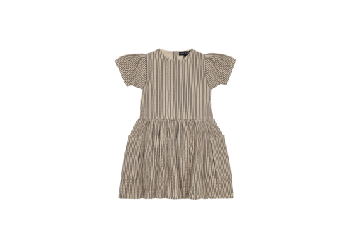 House of Jamie House of Jamie Relaxed Pocket Dress Charcoal Sheer Stripes