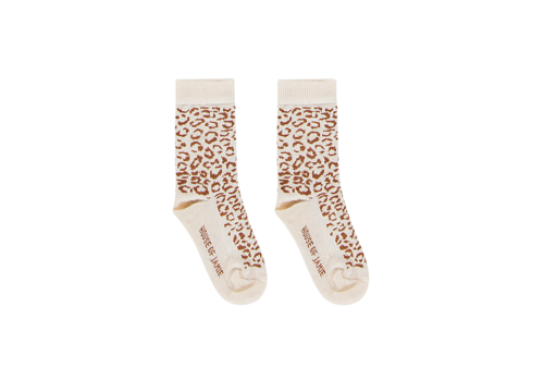 House of Jamie House of Jamie Ankle Socks Cream & Toffee Leopard