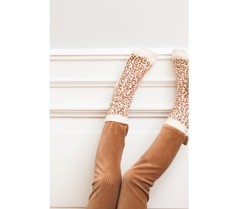 House of Jamie Ankle Socks Cream & Toffee Leopard