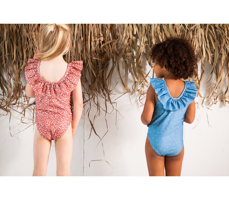 House of Jamie Frill Swimsuit Rose Dawn Leopard