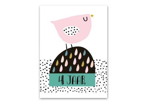 Pepermints wenskaart 4 jaar vogel