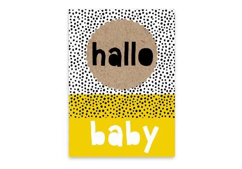 Pepermints wenskaart Hallo baby (geel)