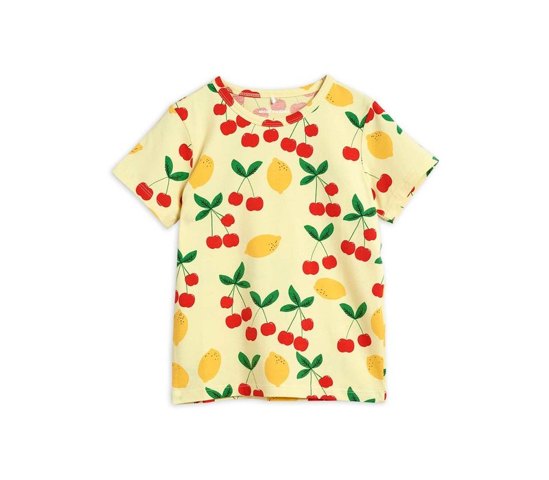 Mini Rodini Cherry lemonade aop ss tee Yellow