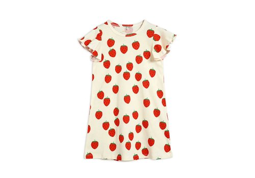 Mini Rodini Mini Rodini Strawberry aop wing dress Offwhite