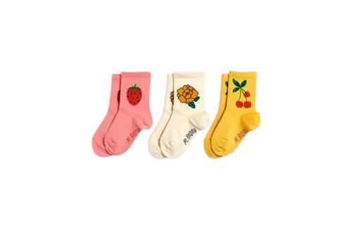 Mini Rodini Mini Rodini Cherry and co 3 pack socks Multi