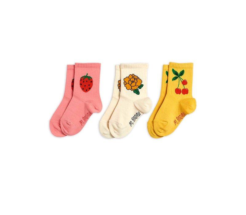 Mini Rodini Cherry and co 3 pack socks Multi