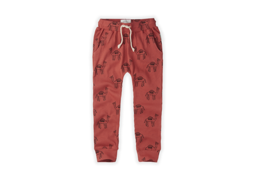 Sproet & Sprout Sproet & Sprout Pants Rib Print Camel Cherry Red