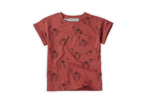 Sproet & Sprout Sproet & Sprout T-shirt Print Camel Cherry Red