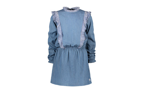 Moodstreet Moodstreet MT denim dress with ruffles Soft Blue