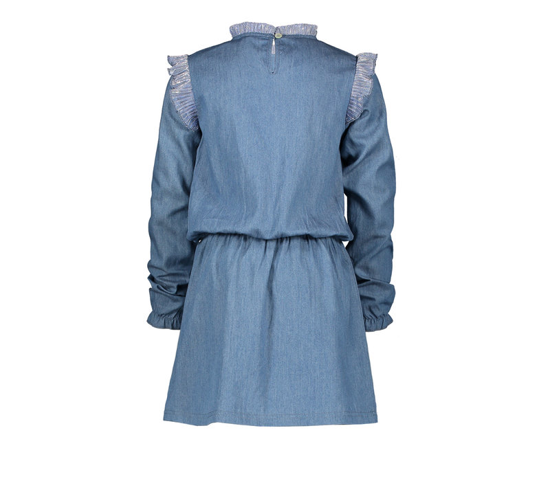 Moodstreet MT denim dress with ruffles Soft Blue