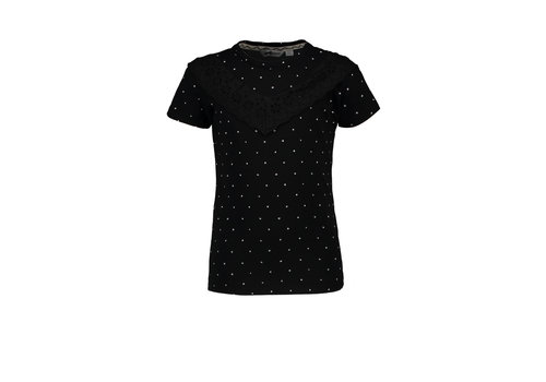 Moodstreet Moodstreet MT fancy T-shirt with frills Black