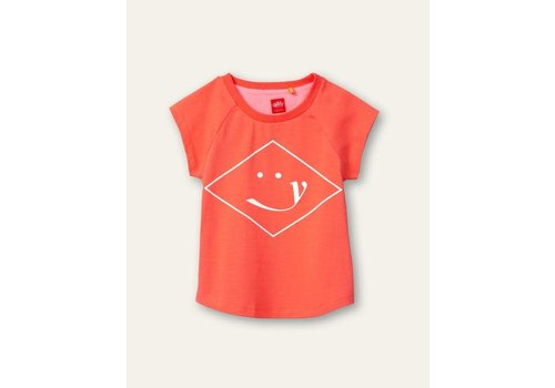 Oilily Oilily Tram T-shirt 15 solid jersey hot coral artwork Orange  Wieber smile