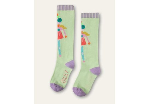 Oilily Oilily Mafalda knee socks 72 green with puppet at front	Light Green