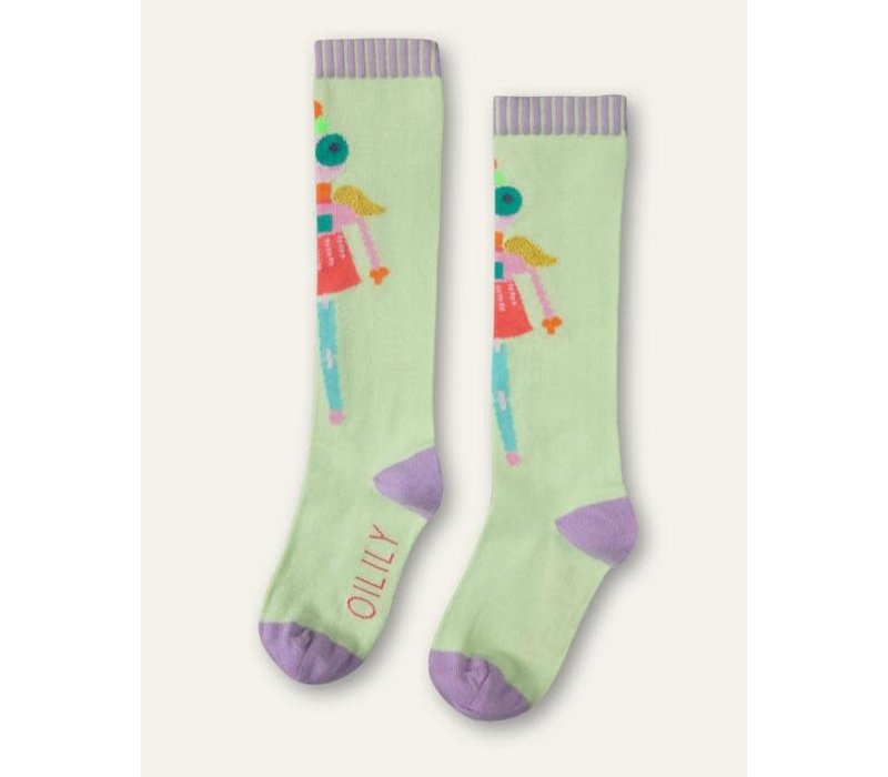 Oilily Mafalda knee socks 72 green with puppet at front	Light Green